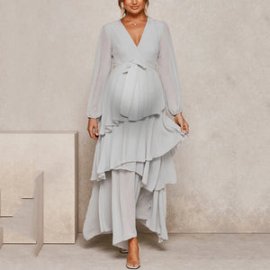 Maternity Fashion deep V-neck solid color stitching perspective dress