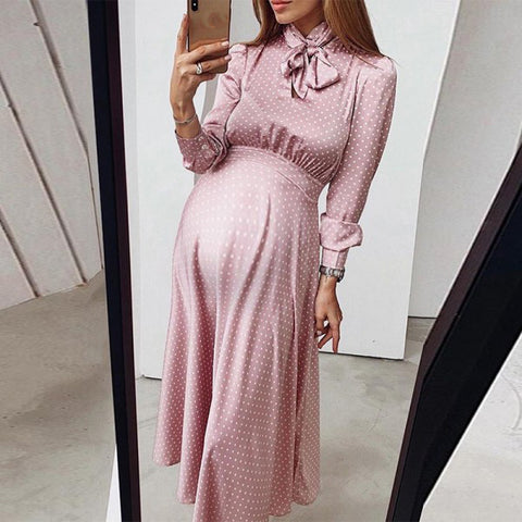 Maternity Long Sleeve Polka Dot Bow Dress