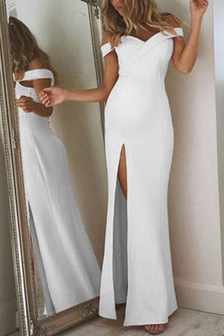Maternity Simple Tube Top Slit Dress