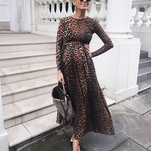 Maternity Fashion Leopard Print Long Sleeve Dress