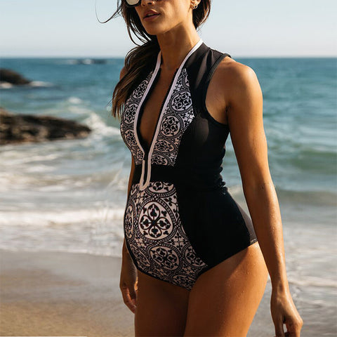 Maternity Fashion V-neck Print Contrast Color One-piece Swimsuit