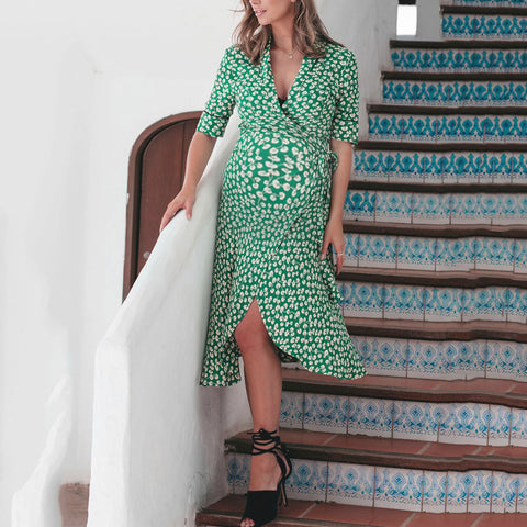 Maternity Floral V-neck Cardigan Half Sleeve Dress