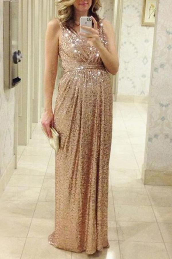 Maternity Sequin Condole Belt V-Neck Maxi Dress