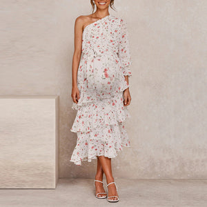 Maternity Off-Shoulder Printed Color Dress
