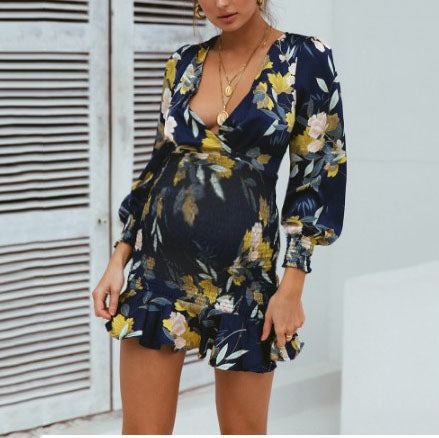Maternity Printed V-neck Cross Elastic Waist Dress