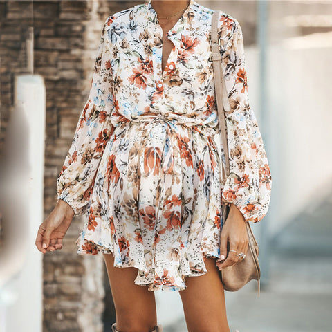 Maternity Casual Printed Colour Long Sleeve Belted Dress