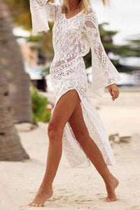 Maternity Sexy Lace High Slit Beach Dress