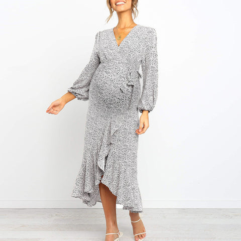 Maternity V-neck printed long-sleeved dress