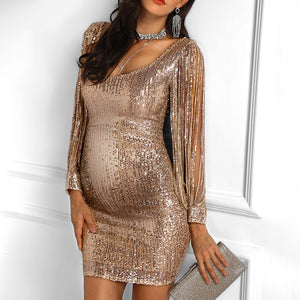 Maternity Fashion Puff Sleeve Solid Color Dress