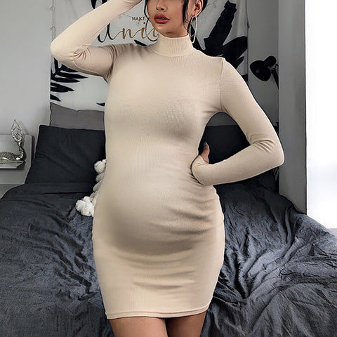 Maternity Casual Pure Color High Neck Long Sleeve Dress