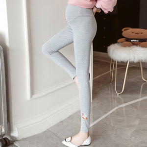 Maternity casual embroidered slim cotton stomach lift pants