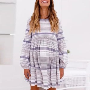 Maternity Print Striped Lantern Sleeve Dress