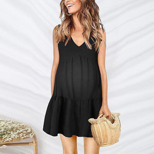Maternity Off-The-Shoulder Sleeveless A-Line Dress