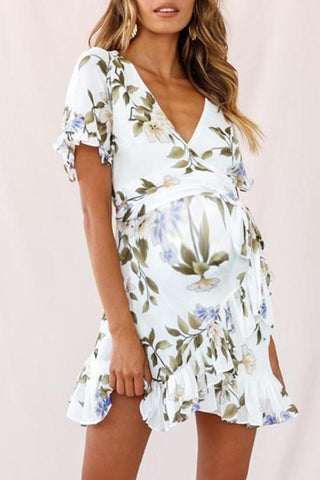 Maternity Surplice Printing Casual Above Dress
