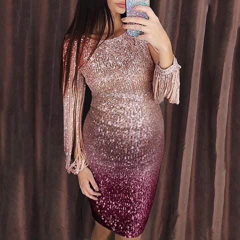 Maternity fashion round neck gradient slim sequin dress