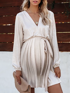 Maternity Commuting V Neck Pure Color Dress