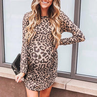 Maternity Fashion Casual Long Sleeve Leopard Dress