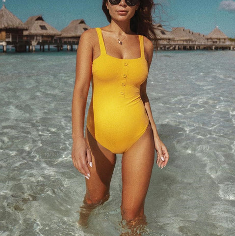 Maternity Pure Color Button One-Piece Swimsuit