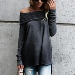 Maternity Wool One-Shoulder Long-Sleeved Sweater
