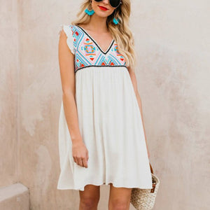 Maternity Printed Loose Sleeveless High Waist Dress