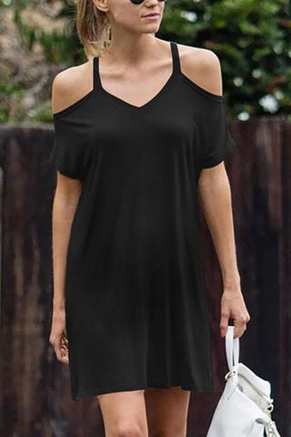 Maternity Casual V Neck Short Sleeve Pure Colour Off-Shoulder Dress