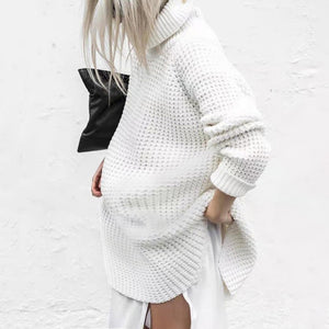 Maternity Commuting High Collar Long Sleeve Loose Sweater