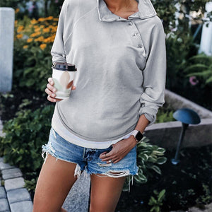 Maternity Button Pure Color Long Sleeve T-Shirt