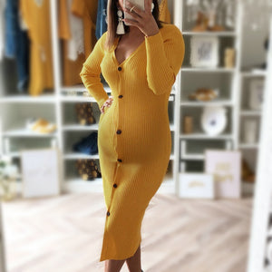 Maternity Fashion round neck buttoned sexy slim dress
