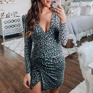 Maternity printed v-neck long sleeve mini dress