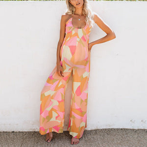 Maternity Sexy Backless Lace Up Sleeveless Jumpsuit