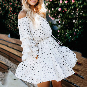 Maternity Shoulder Lantern Sleeve Polka Dot Dress