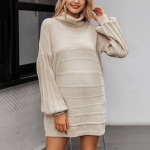 Maternity Solid Knit Turtleneck Dress