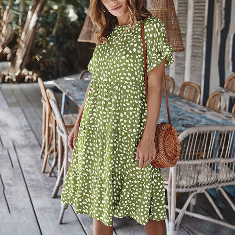 Maternity Ruffle Sleeve Polka Dot Loose Dress