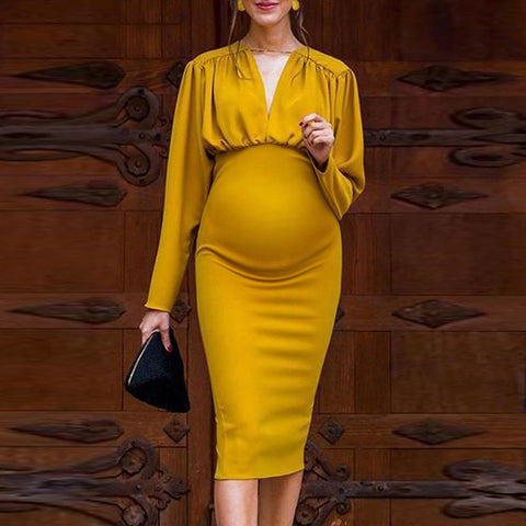 Maternity Pure Color V Neck Dress