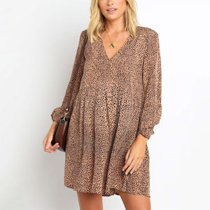 Maternity Leopard Wave Dot Khaki V-Neck Casual Dress