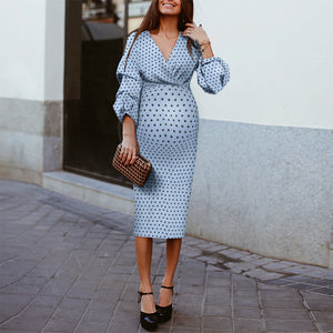 Fashion V-neck Polka Dot Lantern Sleeve Midi Dress