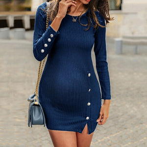Maternity Pure Color Round Collar Dress