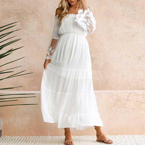Maternity off-the-shoulder lace stitching temperament dress