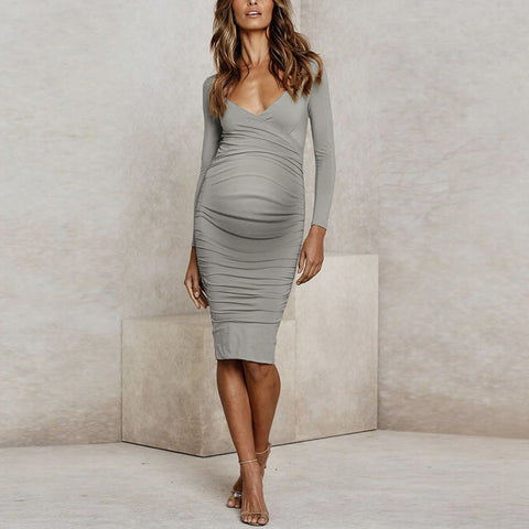 Maternity Sexy Deep V Solid Color Slim Dress
