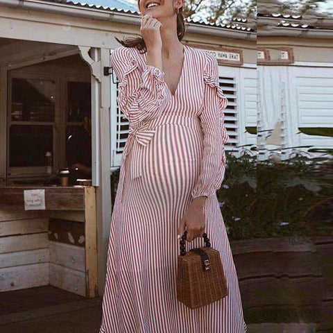 Maternity Striped Lace Up V-Neck Dress