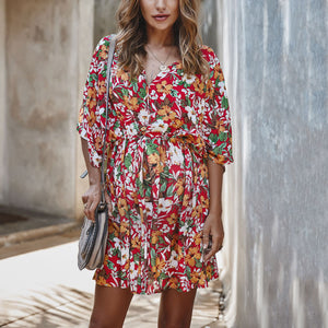 Maternity Floral Ruffled Loose Dress
