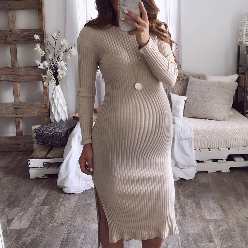 Maternity Sexy round neck slim open dress