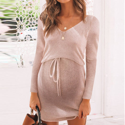 Maternity Round Neck Solid Colour Loose Dress