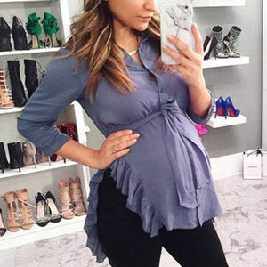 Maternity Solid Color V-neck Frilly T-shirt