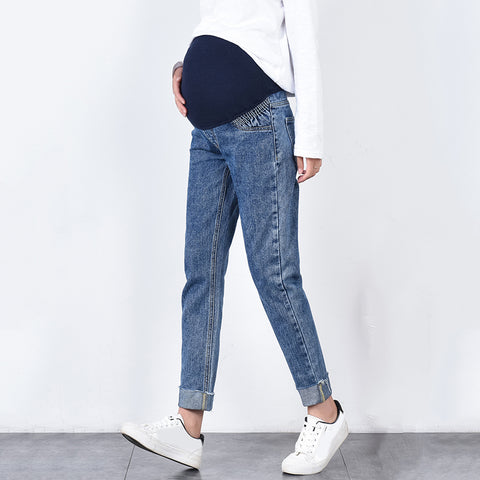 Maternity Fashion Washed Elastic Waist Jeans