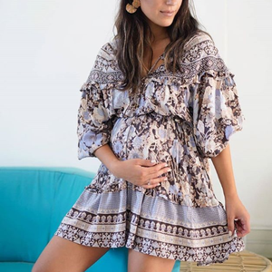 Maternity Long Sleeve Ruffle Dress