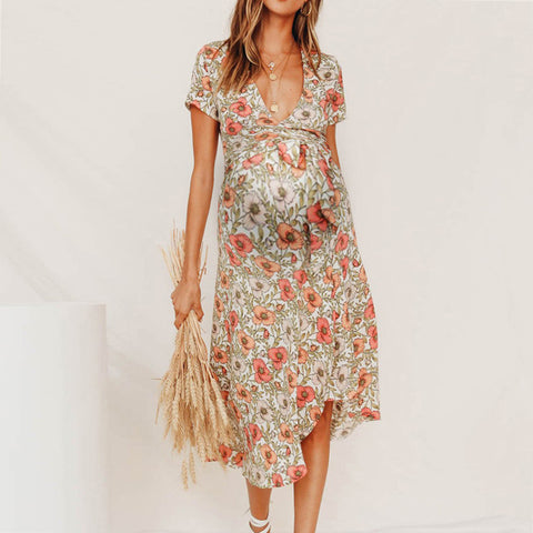 Maternity deep v short sleeves floral pattern long dres