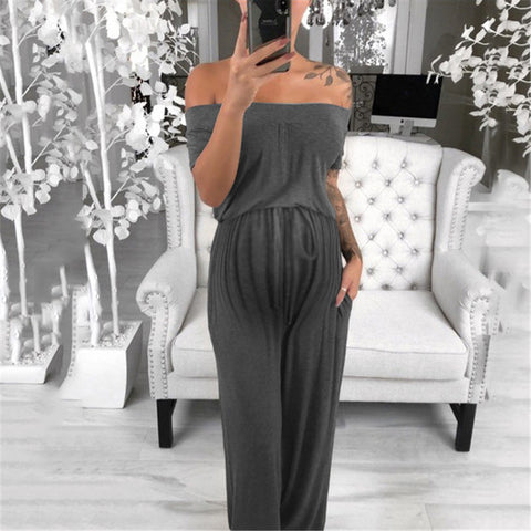 Maternity Casual Pure Color Word Collar Jumpsuit