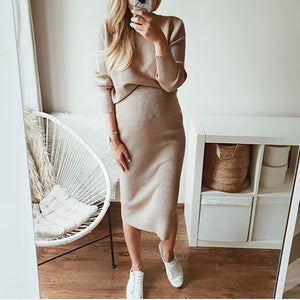 Maternity long sleeves solid color knit dress