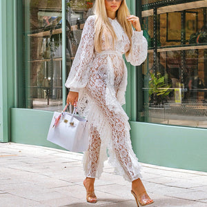Maternity Sexy Bubble Sleeves Lace Hollow Out Jumpsuit